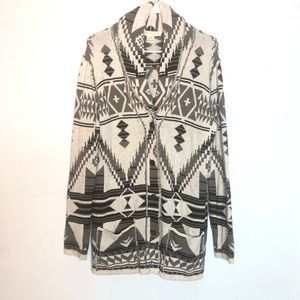 LOVESTITCH Chunky Knit Cozy Aztec Print Cardigan
